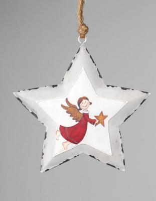 Deko u geschenke formano dekoh nger stern mit engel aus for Gartenschmuck aus metall