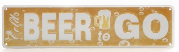 DIO Wandbild aus Metall Cold BEER to GO, 10x40 cm